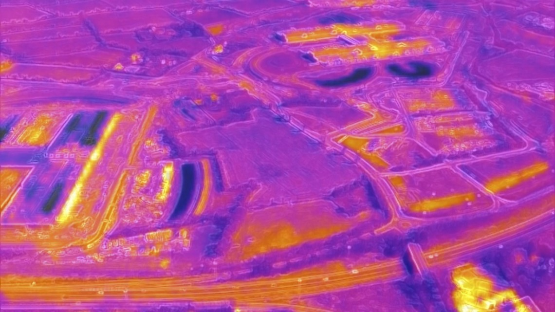 Drone thermographic image of agricultural land in Ireland, highlighting the heat generated from data infrastructure. © ANNEX